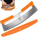 The Ultimate 14' Pizza Cutter/Slicer, Rocker Style. Very Sharp Knife Blade with Protective Cover/Sheath. Unique Design Provides a Safer Grip than a Mezzaluna Chopper. Premium HQ Stainless Steel