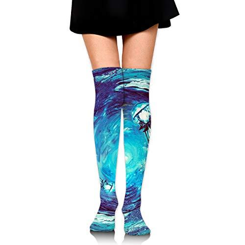 Guoxichangtuiwa Vortex Jellyfish Vessel Women's Girl's Breathable Cotton Comfortable Fashion Over The Knee High Leg Athletic Thigh Highs Socks,Cosplay Socks