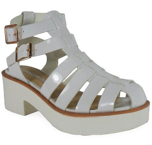 Loudlook Neuen Frauen Damen Patentdoppel Straps Heel Low Tread Flatforms Chunky Schuhe Sandalen 3-8 White