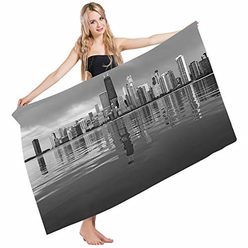 Harbor Town Golf - Mugod Beach Towel Bath Towels Chicago Skyline Nostalgic Weathered Lake Michigan Harbor Coastal Town Urban Vintage Yoga/Golf/Swim/Hair/Hand Towel for Men Women Girl Kids Baby 64x32 Inch