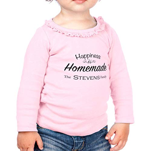 Personalized Custom Happiness is Homemade Cotton Taped Neck Girl Toddler Long Sleeve Ruffle Shirt Top Sunflower - Soft Pink, 18 Months