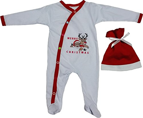 Baby First Christmas Outfit For Infants with Reindeer and Santa Prints by TenTeeTo (0-3 Months, (Santa Baby Outfit)