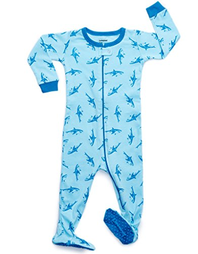 Leveret Baby Boys Footed Pajamas Sleeper 100% Cotton (Sharks, 4 Toddler)