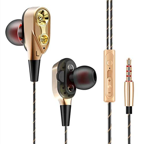 Evelove In-Ear Wire-controlled Running Headset Double Moving Coil Earphone With Mic Earphones