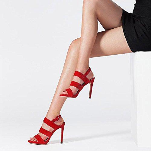 Color Altos De De Para o De Sandalias Rojo Y Con 37 Sexy Pescado Mujer Tama Boca Impermeable De Zapatos Con Verano Plataforma Cuero Tacones JIANXIN Rtgn5xvwqY