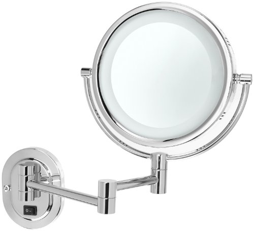 Jerdon HL65CD 8-Inch Lighted Direct Wire Wall Mount Makeup Mirror with 5x Magnification, Chrome Finish by Jerdon (Image #1)