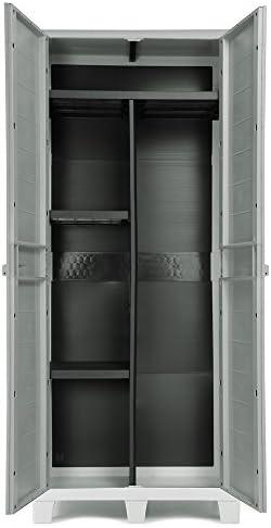 Ondis24 Armario de plástico XL Madera con 3 estantes y escoba ...