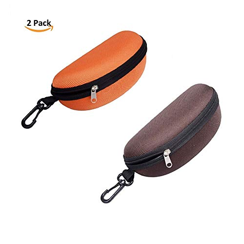 MOWANG Large Protective Glasses Case with Zipper for Oversized Sunglasses Eyeglasses and Reading Glasses (Orange and coffee)