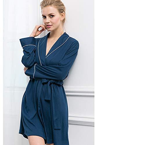 Accappatoio Camicia Sunjng Classico Sexy Elegante L Pigiama Da Camicia Autunnale Donna Notte Notte In Cotone Da Da Notte Blue Home Da Camicia E Service w8rCqw6