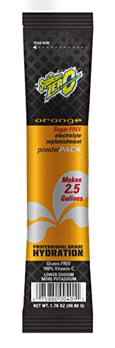 Sqwincher ZERO Sugar Free Powder Concentrate Electrolyte Replacement Beverage Mix, 2.5 gal, Orange 016801-OR (Case of 32)