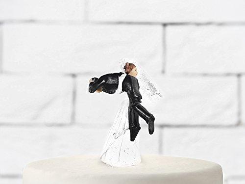 Bianco e Nero PartyDeco Cake Topper Sposo Portato dalla Sposa sulle Spalle Ceramica