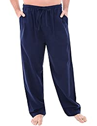 Mens Flannel Solid and Novelty Pajama Pants, Long Cotton Pj Bottoms