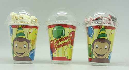 Set of 8 - Curious George Party Cups, Popcorn Cups, Goody Bags, Favor Boxes by Neon