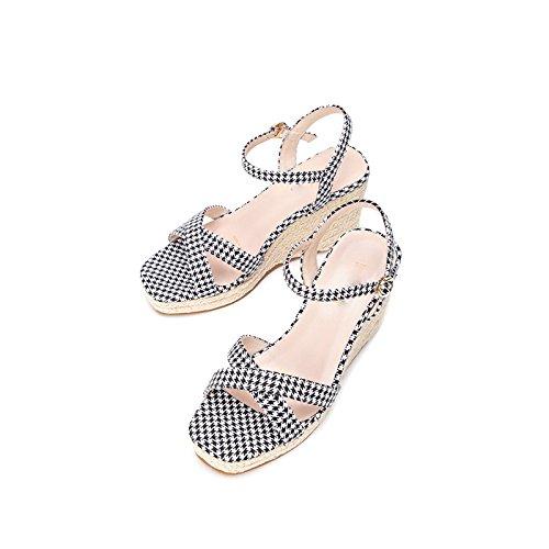 Color Sandalias de Mujer Sandalias Moda Verano DHG de S Planas de Punta Sandalias Dulces de Ocasionales Zapatillas de aw7dcXBq