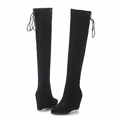 Carolbar Womens Pull-on Lace Up Bout Pointu Mode Date Partie Wedge Talon Tall Robe Bottes Noir