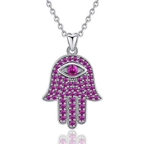 INFUSEU Sterling Silver Evil Eye Hamsa Hand Fatima Good Luck CZ Vintage Pendant Necklace for Women