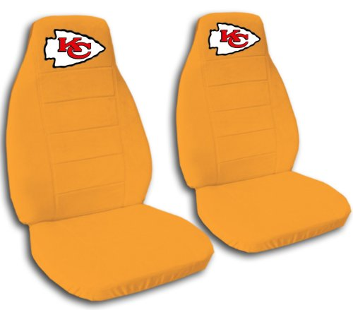 2 Orange Kansas City seat covers for a 2006 to 2009 Chevrolet Equinox. by Designcovers