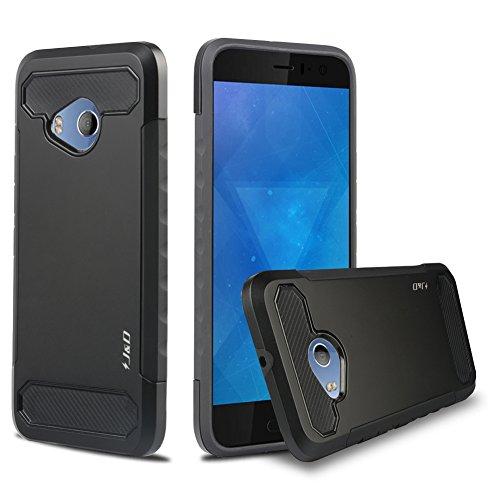 J&D Case Compatible for HTC U11 Life Case, Heavy Duty [Carbon Fiber] [Dual Layer] Hybrid Shock Proof Protective Rugged Case for HTC U11 Life Case - Black ()