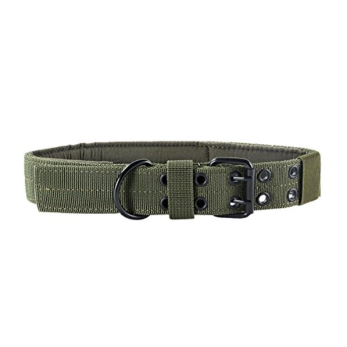 Picture of OneTigris Military Adjustable Dog Collar with Metal D Ring & Buckle 2 Sizes (L, OD Green)