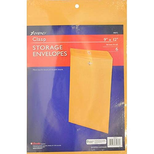 - Ampad AMP74072 Open End Clasp Envelopes 28lb Brown Kraft(9inch x 12inch, Pack of 6)