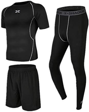 レディースジャージ上下セット 圧縮レギンス3ピースメンズジムフィットネスランニング下着セット半袖ランニングショーツ 吸汗 速乾 (Color : Black, Size : XXL)