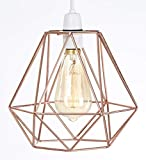 Metal Wire Basket Cage Style Light Shade, Funky Retro Modern Industrial Vintage Look, Easy Fit (Copper)