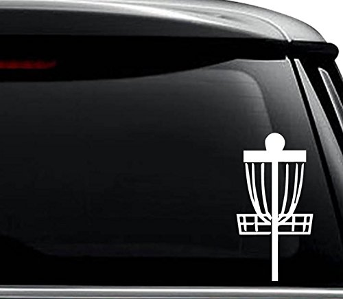 Frisbee Disc Golf Decal Sticker For Use On Laptop, Helmet, Car, Truck, Motorcycle, Windows, Bumper, Wall, and Decor Size- [6 inch] / [15 cm] Tall / Color- Gloss White
