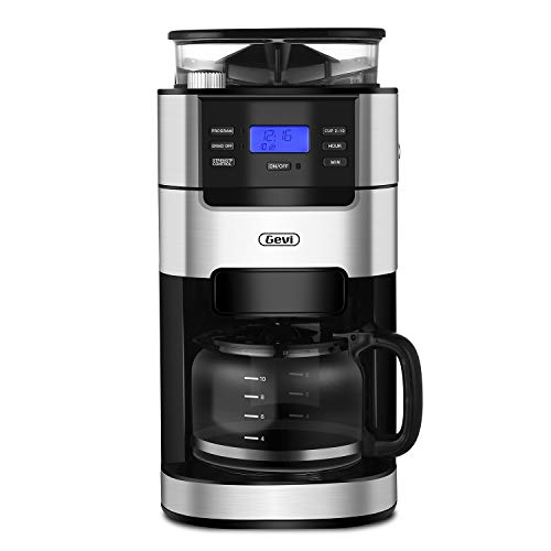 Gevi Coffee Maker 10 Cups Drip Grind and Brew Coffee Machine Built-in Burr Coffee Grinder for Kitchen and Office,Silver and Black Color