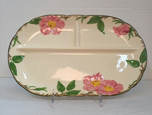 Vintage Franciscan Desert Rose Divided Platter/Relish Tray, 12 x 7 inches, 1953-1958