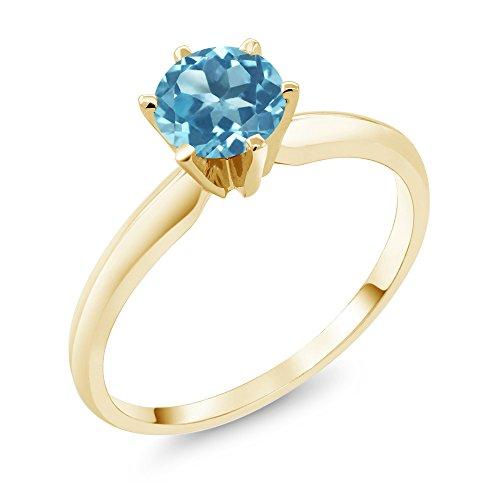 Gem Stone King 14K Yellow Gold Swiss Blue Topaz Women