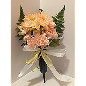GRAVE DECOR - CEMETERY MARKER - FUNERAL ARRANGEMENT - FLOWER VASE - YELLOW/PINK DAHLIA AND PINK HYDRANGEA - 6