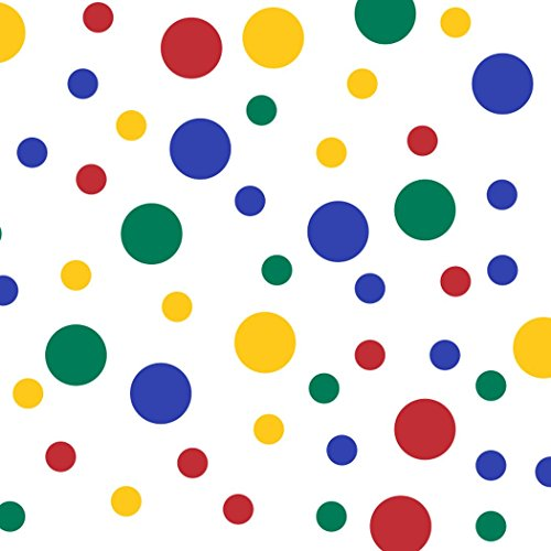 Set of 60 Circles Polka Dots Vinyl Wall Graphic Decals Stickers (Red/Yellow / Green/Blue) -