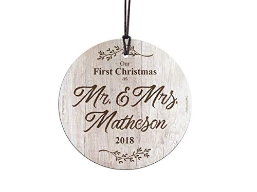 Personalized Suncatcher - Trend Setters First Christmas Married – Mr and Mrs Personalized – Suncatcher Hanging Glass Collectible