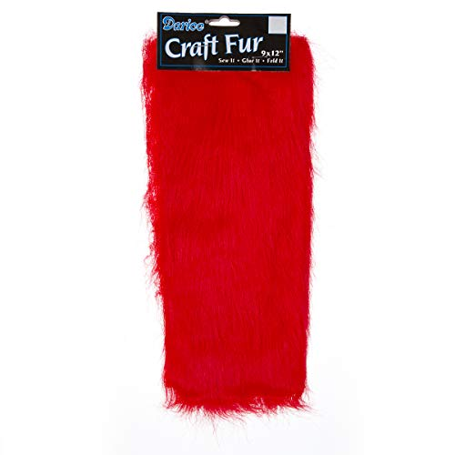CRAFT DESINGER P002/H-F6 Fur Long Pile 9X12In Washable, Red