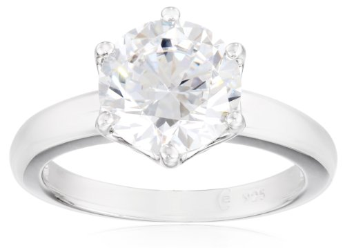 Platinum-Plated Sterling Silver Solitaire Ring set with Round Swarovski Zirconia (3 cttw), Size 8