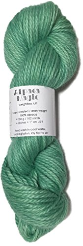(Hand Dyed Baby Alpaca Yarn, Kettle Dyed: Spearmint, Heavy Worsted Weight, 100 Grams, 102 Yards, 100% Baby Alpaca)