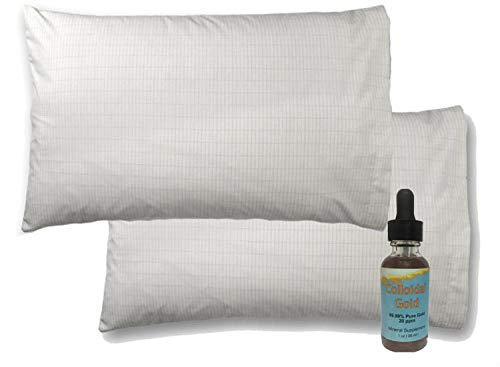 """Price comparison product image Earth Wellnes Earthing Pillow Case and 1 oz Colloidal Gold. Size 20"""" x 30"""", Improves Sleep, Natural EMF Detox, reduces Inflammation and pain through ion exchange 2 Sets"""