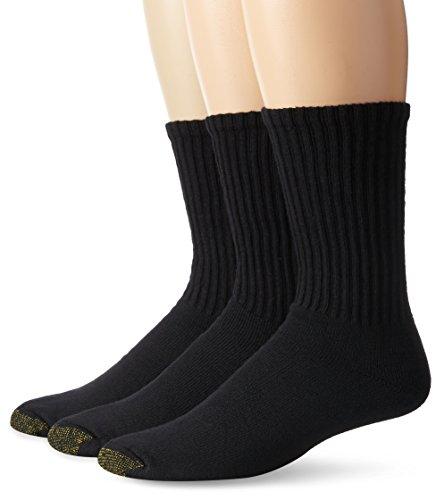 Gold Toe Men's Casual Crew Sock - 10-13 / Shoe: 6-12.5 - Black/Black/Black, (Pack of (Crew Socks Shoe)