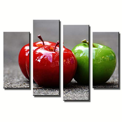 4 Panel Picture On Canvas Wall Artwork One Green Apple And The Other Red Two On The Ground Still Life Colorful Fruit Giclee Painting HD Print Gallery Gift Set Photo Home Decoration by uLinked Art ()