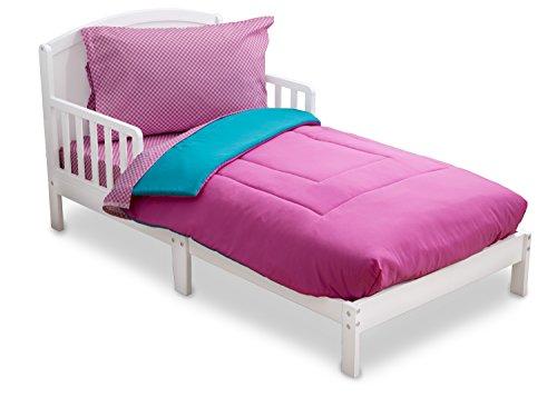 Blue Gingham Crib Bedding - Toddler Bedding Set | Girls 4 Piece Collection | Fitted Sheet, Flat Top Sheet w/ Elastic bottom, Fitted Comforter w/ Elastic bottom, Pillowcase | Delta Children | Pink & Blue | Gingham