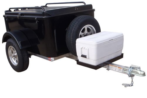 Hybrid Trailer Co. Vacationer with Spare Tire and Cooler Tray - Enclosed Cargo Trailer, 990 lbs. Gross, 30 cu/ft. - Biker Black