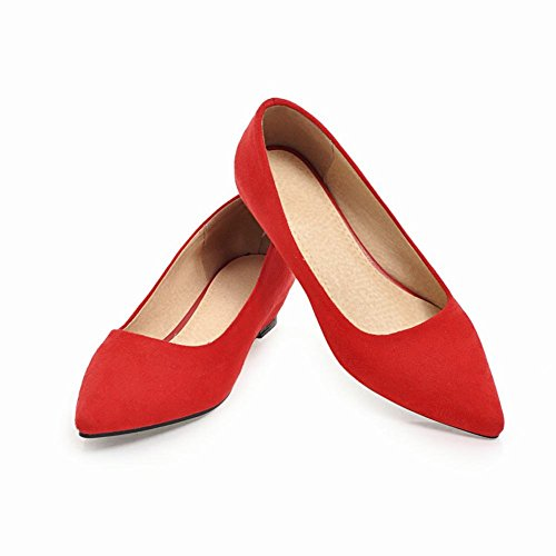 Carolbar Women's Solid Color Concise Mid Heel Wedge Pointed Toe Court Shoes Red-3cm kJI853