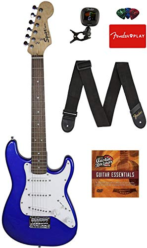 Squier by Fender 3/4 Size Kids Mini Strat Electric Guitar - Imperial Blue Bundle with Tuner, Strap, Picks, Fender Play Online Lessons, and Austin Bazaar Instructional DVD