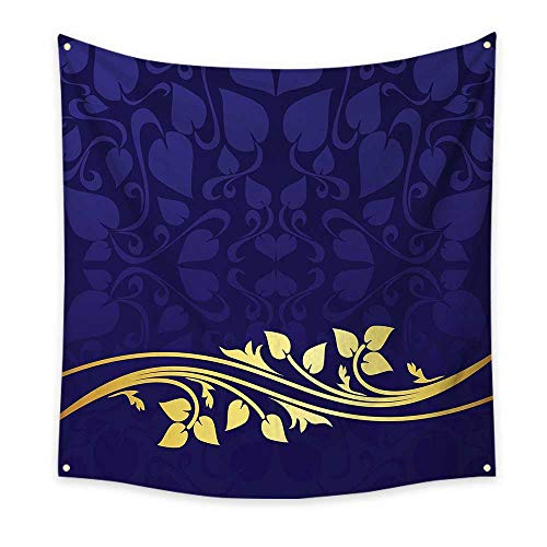 Floral Tapestry Romantic Royal Leaf Pattern with Golden Colored Floral Branch with Leaves Cool Tapestry Indigo and Purple 32W x 32L Inch