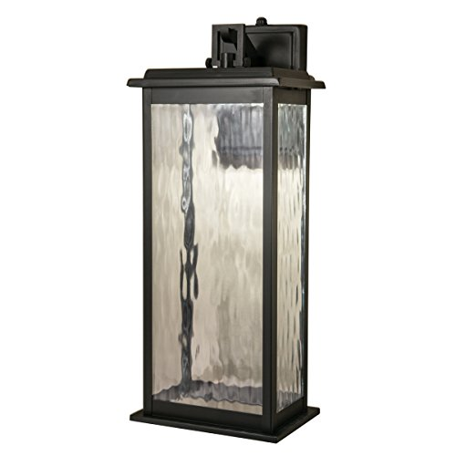 Weymouth Outdoor LED Wall Mount in Gun Metal with Water Glass