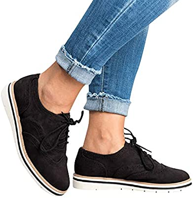 87222871193 Gift Ideas!!! Teresamoon Women's Round Toe Solid Color Ankle Flat Suede  Casual Lace Up Shoes Sport Shoes