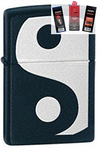 Zippo 24472 Yin & Yang Lighter + Fuel Flint & Wick Gift Set