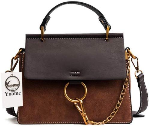 Chole Bag - Yoome Women's Vintage Shoulder Bags Top Handle Handbags Elegant Ring Bag Color Blocking Purse - Brown