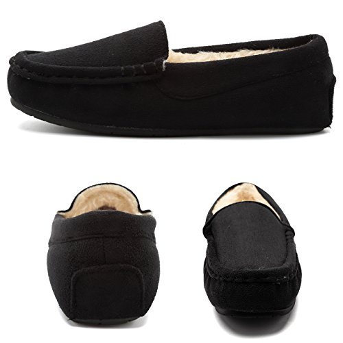 Black02 On Women's Faux Outdoor Slipper Lined Fantiny Moccasins Fur Indoor amp; Suede Slip CIOR O4gFwqp