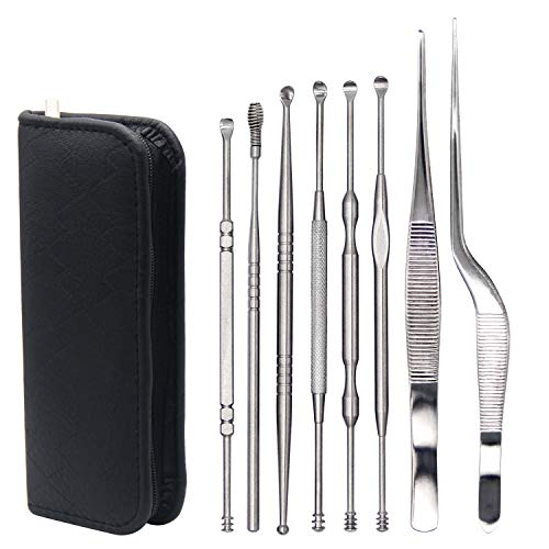 8 Pcs Ear Pick, MOTYYA Ear Cleaning Tool Set, Premium Stainless Steel Ear Curette Earwax Removal Kit with a Travel Carrying Storage Box Multifunction Beauty Tools Kit